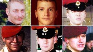Top, from left: Sergeant Simon Alexander Hamilton-Jewell; Corporal Russell Aston; Corporal Paul Graham Long. Bottom, from left: Corporal Simon Miller; Lance-Corporal Benjamin Hyde; Lance-Corporal Thomas Keys.