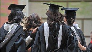 University graduates on graduation day