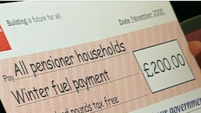 Winter fuel payment cheque