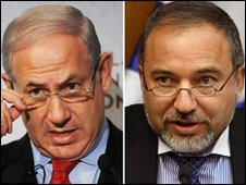 A combo of two pictures shows Israeli Prime Minister Benjamin Netanyahu (L) and Foreign Minister Avigdor Lieberman