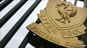 Liverpool crest on a gate at the club's Anfield ground
