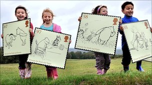 Children with the stamps