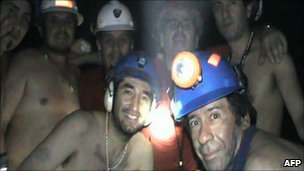 Trapped Chilean miners pose inside the San Jose Mine on September 17, 2010, near Copiapo, 800 km north of Santiago, Chile