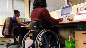 Person in a wheelchair using a computer