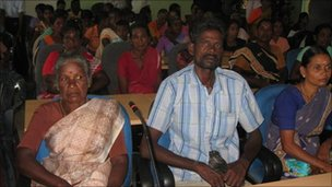 Tamil people gathered to give evidence before Lessons learnt and Reconciliation Commission in Batticaloa