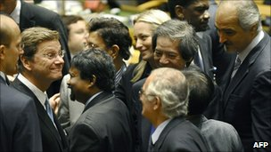 Germany Foreign Minister Guido Westerwelle being congratulated at the UN