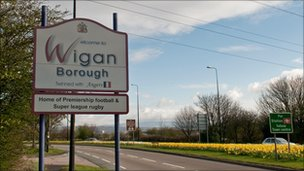 Welcome to Wigan sign