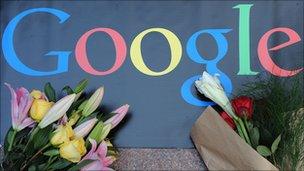 Flowers surrounding the Google logo