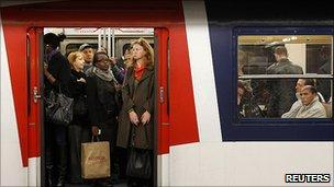 Crowded Paris commuter train