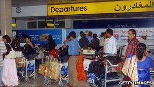 Passengers in Muscat airport in Oman