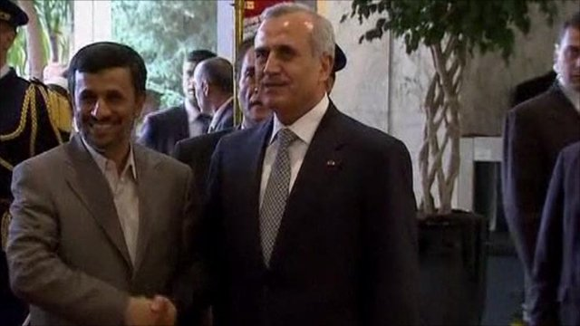 President Mahmoud Ahmadinejad and President Suleiman of Lebanon