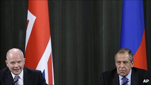 British foreign secretary William Hague and his Russian counterpart Sergei Lavrov