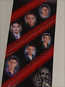 Poster showing six Christians killed