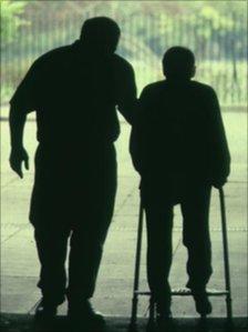 Elderly man with zimmer frame