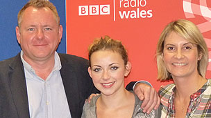Charlotte Church with presenters Jamie Owen and Louise Elliott
