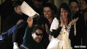Luis Urzua arrives at Copiapo hospital