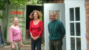 Villagers Kirsty Healy, Mary Peirson and Rod Scott outside the Barford shop