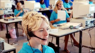 Woman on the phone in a call centre