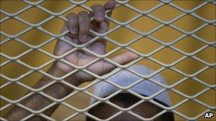 A detainee at the US-run Parwan jail near Bagram, Afghanistan, in September 2010