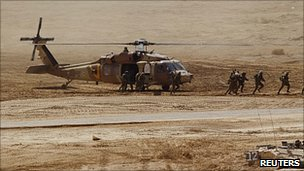 Israeli Black Hawk helicopter in exercise near city of Eilat, Israel. 12 Oct 2010