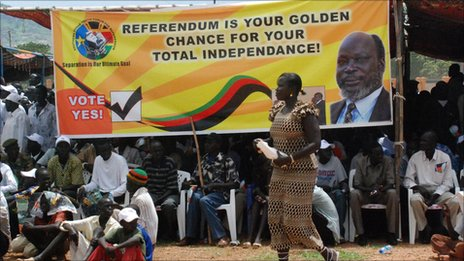 A large campaign banner in Juba with the words 'Referendum is your Golden Chance'