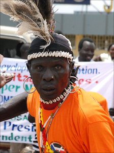 A Sudanese man in an orange t-shirt at a recent rally in Juba