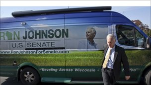 Wisconsin Republican senatorial candidate Ron Johnson arriving at a speaking engagement