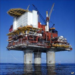 Norwegian oil platform in the North Sea