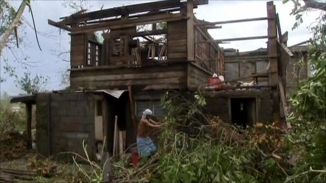 House damaged in Typhoon Megi
