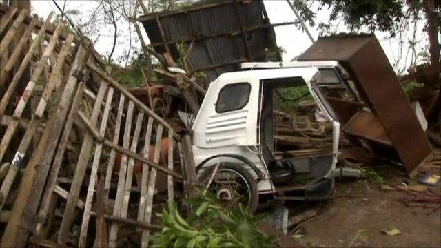Car and furniture debris