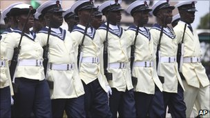 Nigerian sailors march during 50th anniversary celebrations of Nigerian independence, in Abuja