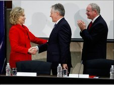 Hillary Clinton with Peter Robinson and Martin McGuinness