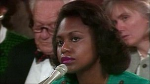 Anita Hill during Clarence Thomas confirmation hearing in 1991 (file photo)