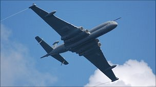 Nimrod MRA4 flying in the Guernsey Battle of Britain Air Display