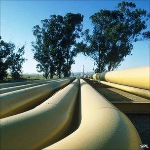 Oil pipelines at a refinery in Benicia, California