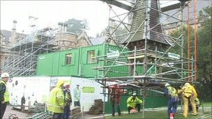 The bell tower roof was lifted off by a crane
