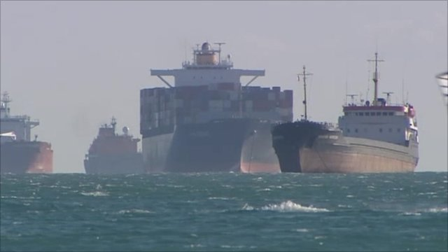 Oil tankers outside Marseille's oil refinery