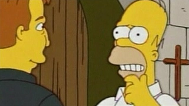 Homer talks to Father Sean