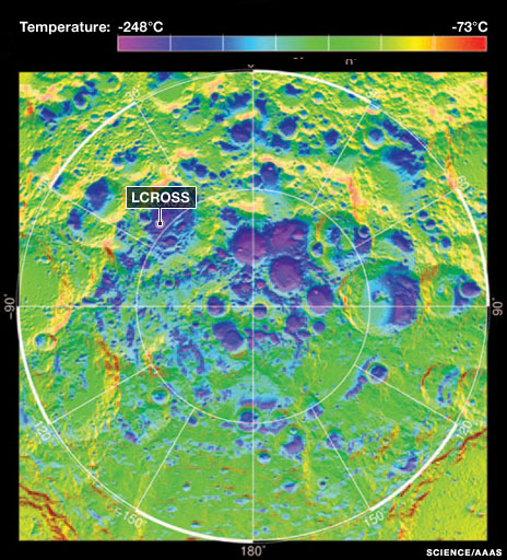 Daytime temperatures at the Moon's southern polar region (Science/AAAS)