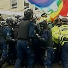 A shot of the EDL and UAF rally in Bolton - not a still from the video being investigated