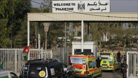 An international aid convoy crosses into Gaza at the Rafah border crossing, 21 October