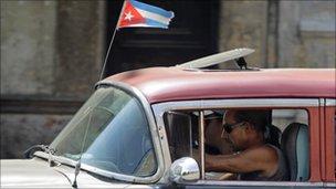 Self-employed taxi driver in Cuba