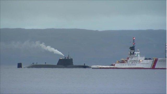 HMS Astute with a sea vessel