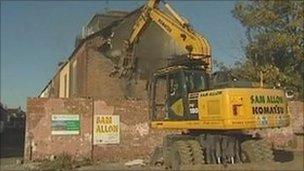 Demolition work in Goole