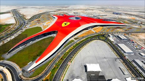 Aerial view of Ferrari World Abu Dhabi, a Ferrari themed amusement park, in Abu Dhabi September 27, 2010