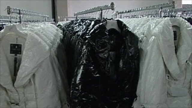 Coats inside a clothing factory