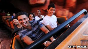 Paul Delvecchio, an actor, takes a ride aboard the Big Thunder Mountain Railroad roller coaster in the Magic Kingdom on October 22, 2010 in Lake Buena Vista, Florida.