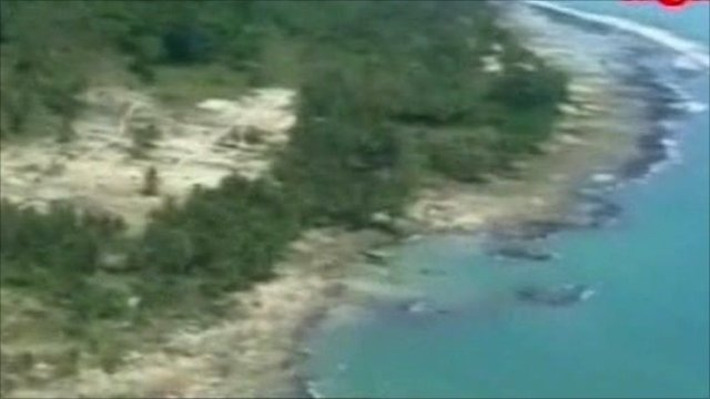 Aerial footage of the tsunami-hit coastline