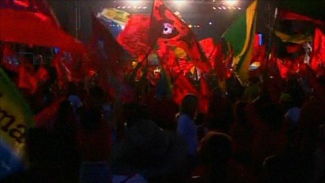 Brazilians waves flags
