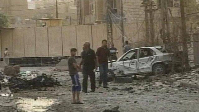 Wreckage in street